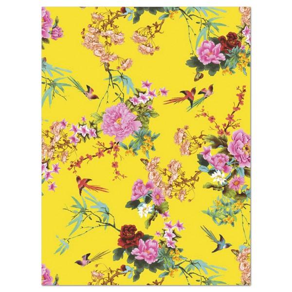 Decoupagepapier gelb mit Rosen und Blättern von Décopatch, 30x40cm, 20g/m²
