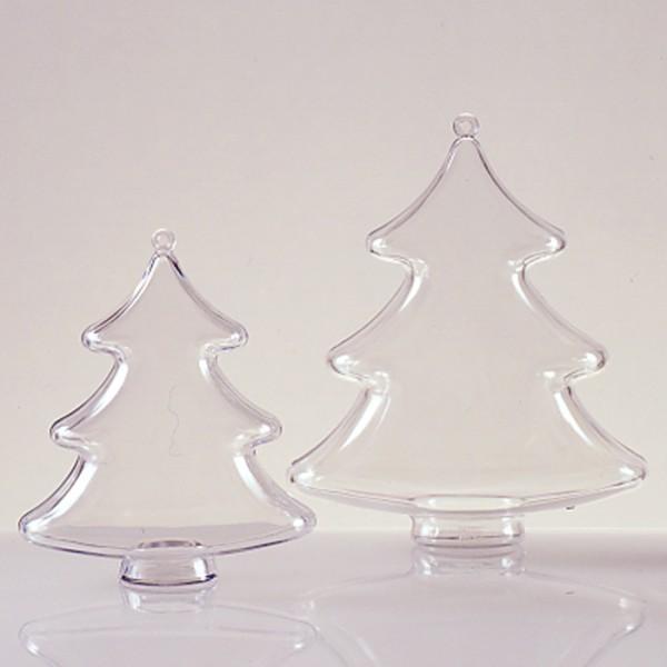 Kunststoff-Tanne glasklar 100mm 2 Halbschalen zum Zusammenstecken