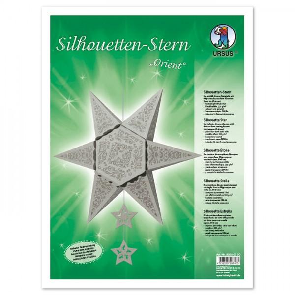 Silhouetten-Stern Orient ca. 40cm silberfarben Tonkarton mit Metalliceffekt, Transparentpapier