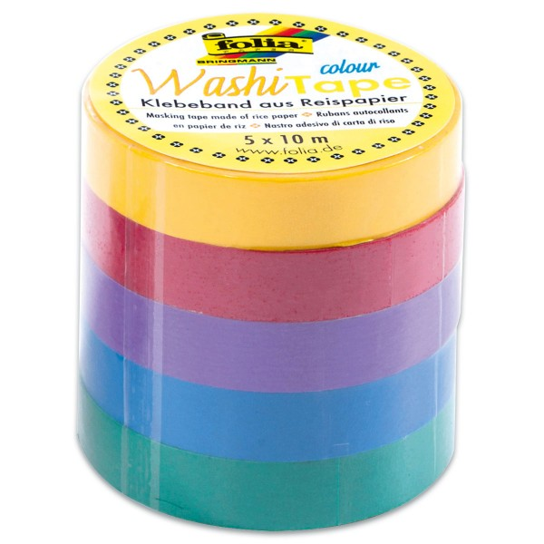Washi Tape Papier-Klebeband 10mm 50m Uni Basic 5 Rollen à 10m