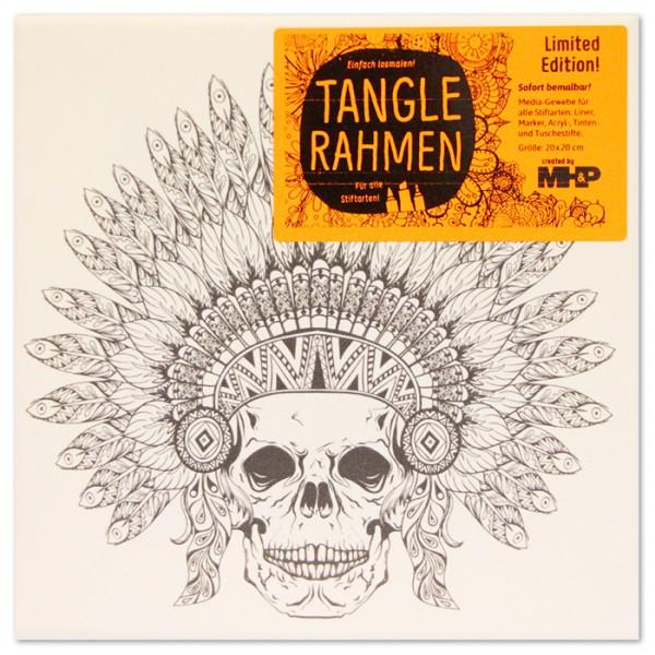 Tangle-Keilrahmen 20x20x2cm Totenkopf m.Federhaube
