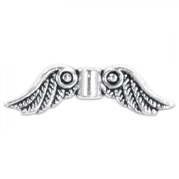Metallperle Doppelflügel ca. 23x16,5mm altsilberf. Lochgröße ca. 1,2mm