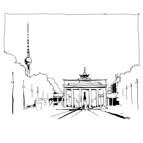 Color Sketch Keilrahmen 20x20cm Brandenburger Tor