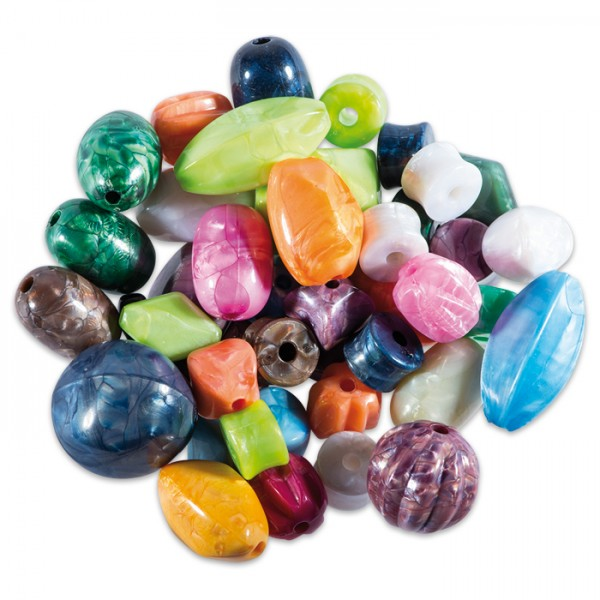 Kunststoffperlen-Mix ca. 8-20mm ca. 120g bunt Lochgröße ca. 2,3mm