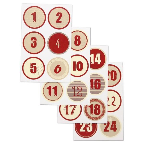 Sticker Adventskalenderzahlen 1-24 Ø4cm 24 St. weiß/rot 4 Bogen à 9x14cm
