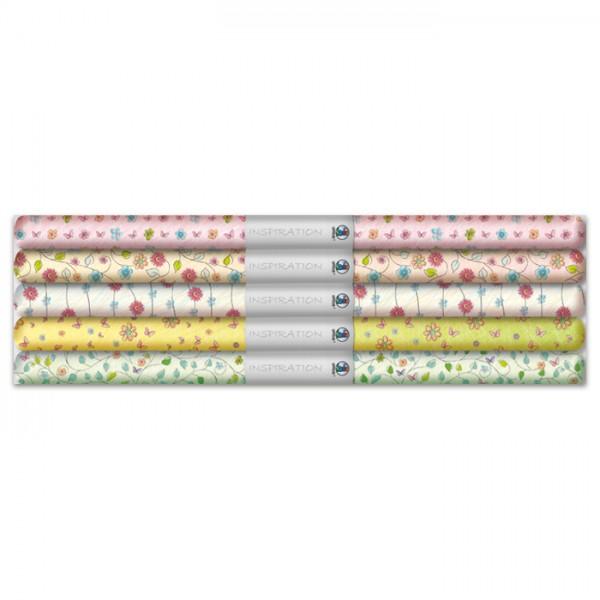 Transparentpapier-Set Blütenzauber 5 Rollen/Motive, 115g/m², 50x61cm