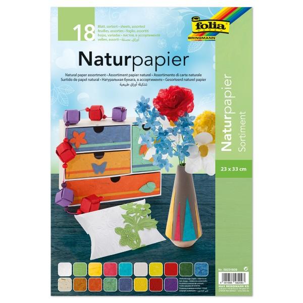 Naturpapier Sortimentspack 23x33cm 18 Bl. bunt