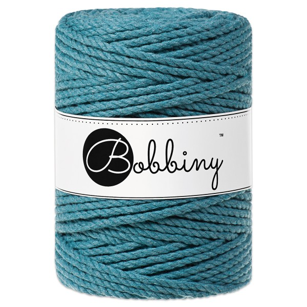 Bobbiny 3PLY Makramee-Kordel Ø5mm teal ca. 700g-800g, 100% Baumwolle, LL 100m, 3x60 Fasern