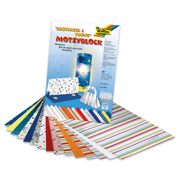 Motivblock 24x34cm 30 Bl. Abstracta & Young je 10 Bl./Motive in 270g/m², 115g/m², 130g/m²
