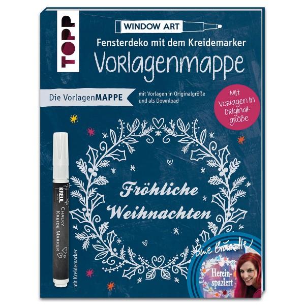 Buch - Fensterdeko mit dem Kreidemarker: Vorlagenmappe Fröhliche Weihnachten 8 Seiten, 17x22cm, Soft