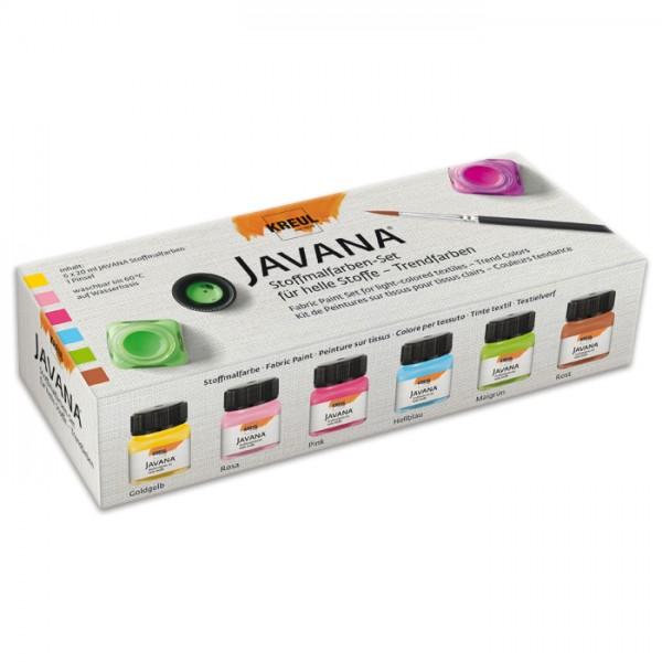 JAVANA Stoffmalfarben-Set Trendfarben 6 Farben à 20ml inkl. Pinsel, für helle Stoffe
