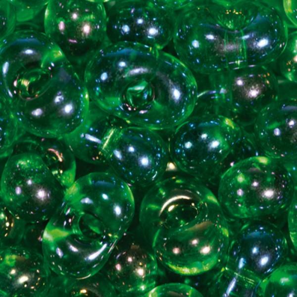 Farfalle transparent 6,5mm 17g dunkelgrün AB Glas, Lochgr. ca. 1mm