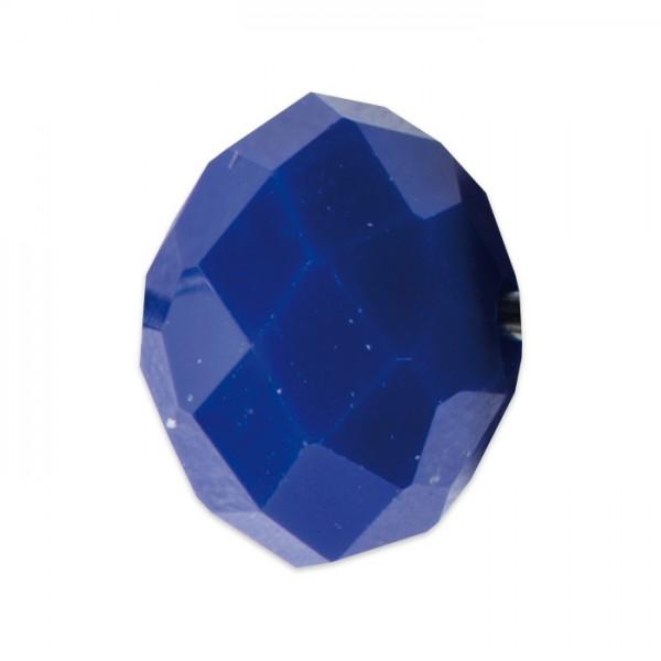 Facettenschliffperlen 8mm 20 St. dunkelblau pastellfarben, feuerpoliert, Glas, Lochgr. ca. 1mm