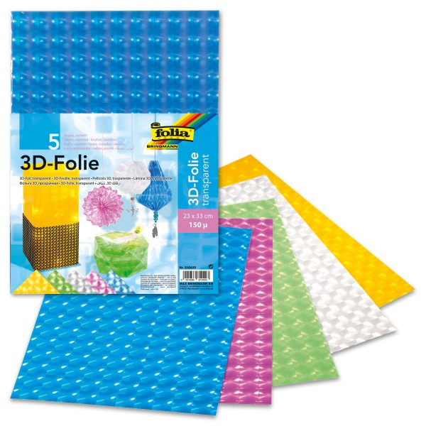 3D-Folie transparent 150µ 23x33cm 5 Bl./Farben 0,15mm, Kunststoff