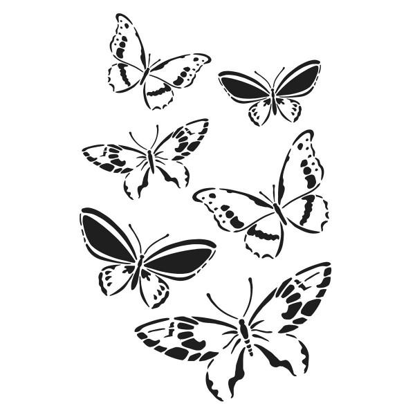 Universal-Schablone DIN A4 Schmetterlingsschwarm Kunststoff