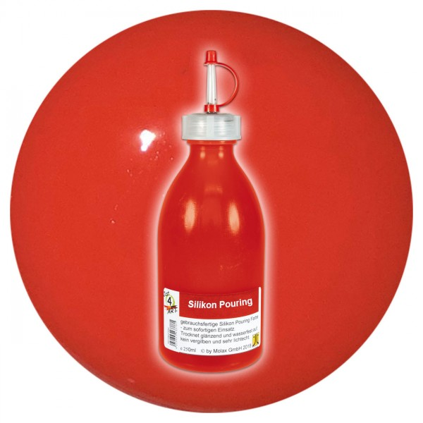 Just4Art Silikon Pouring Farbe 250ml brillantrot mit Spritzdüse