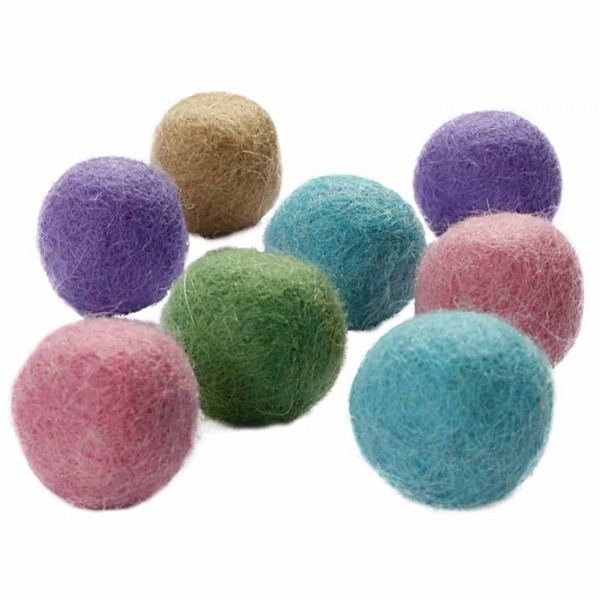Filz-Woll-Kugeln 2cm 64 St. Pastelltöne 100% Wolle