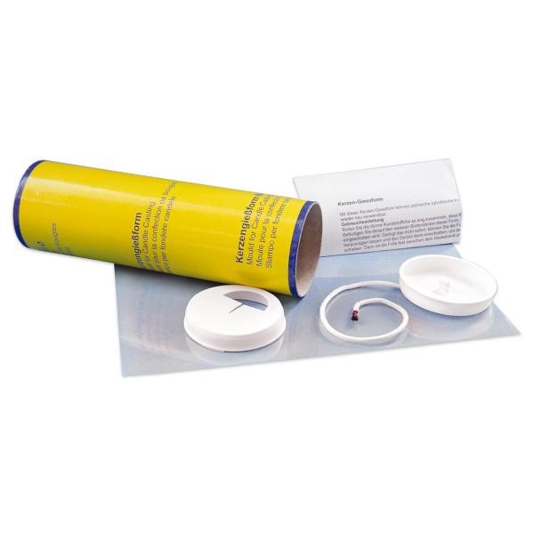 Kerzengießform Pappe 70x225mm rund mit Docht, Pappe/Kunststoff
