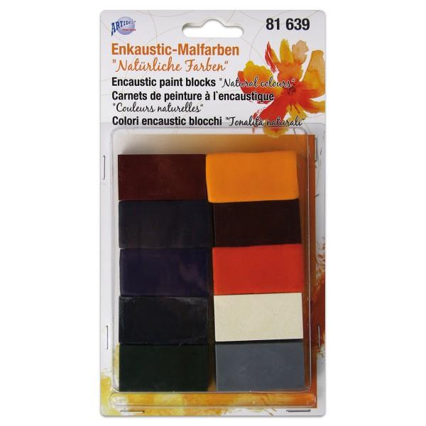 Enkaustic-Malblöcke-Set 10 St. natürliche Farben Block à ca. 10g, 45x25x10mm