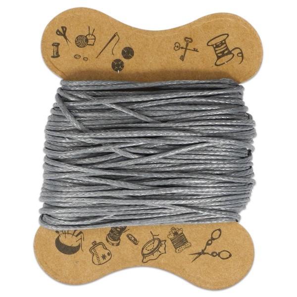 Kordel gewachst 0,5mm 10m grau 90 % Polyesterfaser/10 % Baumwolle