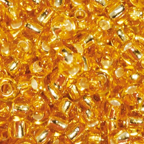 Rocailles transparent 2,6mm 17g goldfarben Silbereinzug, Glas, Lochgr. ca. 0,9mm