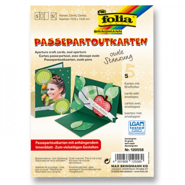 Passepartoutkarten DIN A6 5 St. oval tannengrün inkl. Kuvert&Einlegeblatt, 220g/m²