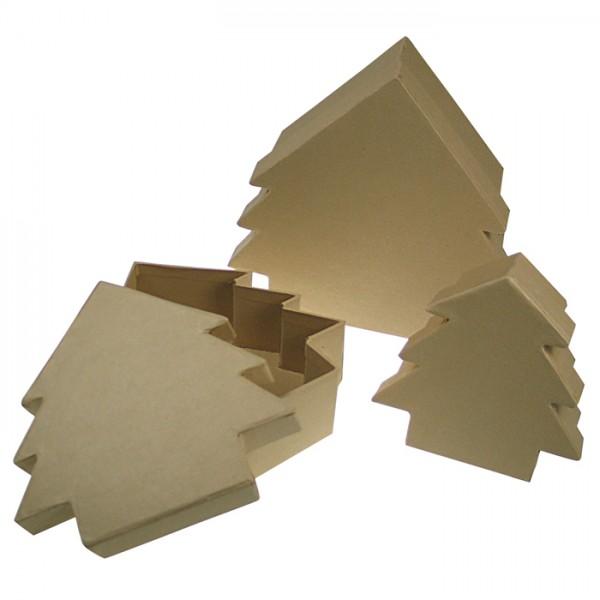 Tannendosen Pappschachteln 3er-Set h4cm 11x11cm; h5cm 14x14cm; h6cm 16,5x16,5cm