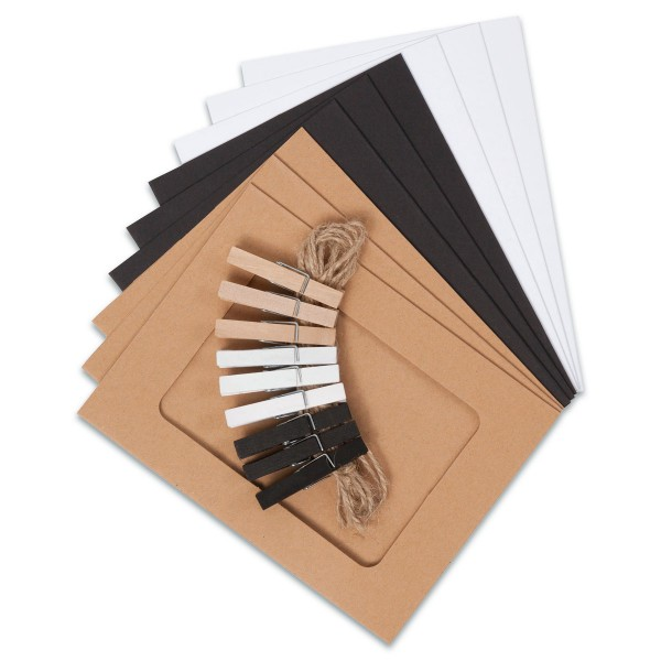 Bilderrahmen-Girlanden-Set 15,5x11,5cm 19-teilig Ausschnitt 11x7,5cm. natur/schwarz/weiß