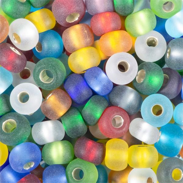 Rocailles transparent matt 4,5mm 17g mix Silbereinzug, Glas, Lochgr. ca. 1mm