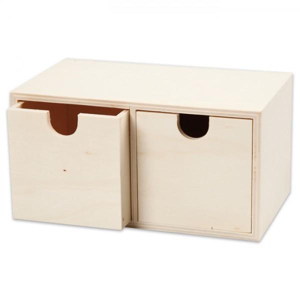 Holzbox mit 2 Schubladen 9,2x17,7x10,4cm natur innen: 7,2x7,2cm, inkl. Metallaufhänger