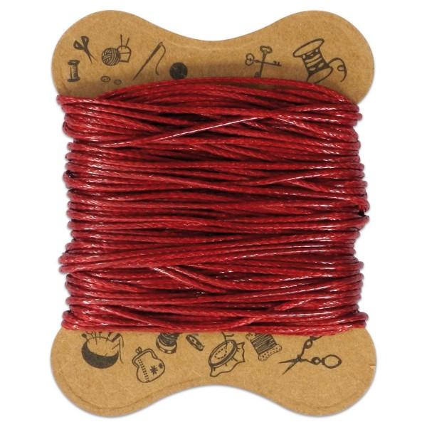 Kordel gewachst 0,5mm 10m dunkelrot 90 % Polyesterfaser/10 % Baumwolle
