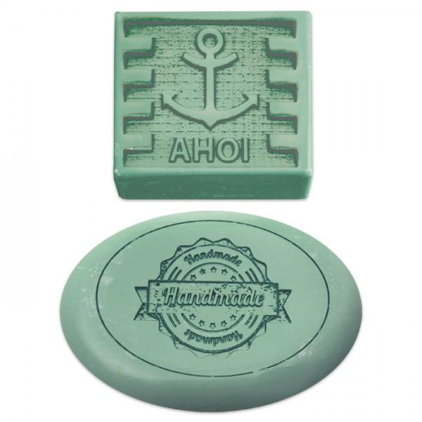 Seifenform Kunststoff Handmade & Ahoi 2 St. 55x55x25mm & 85x60x25mm