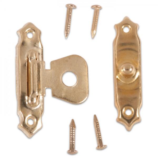 Etuiverschluss Metall 26x16mm 10 St. vermessingt inkl. Nägeln