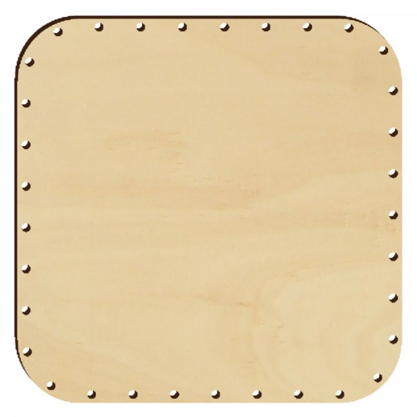 Korbflechtboden Holz 4mm 24x24cm Quadrat natur 36 Bohrungen 3mm