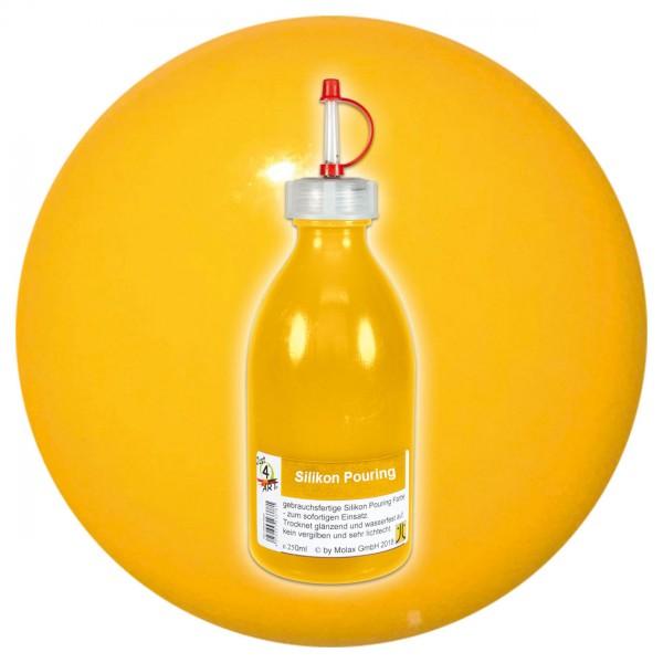 Just4Art Silikon Pouring Farbe 250ml dunkelgelb mit Spritzdüse