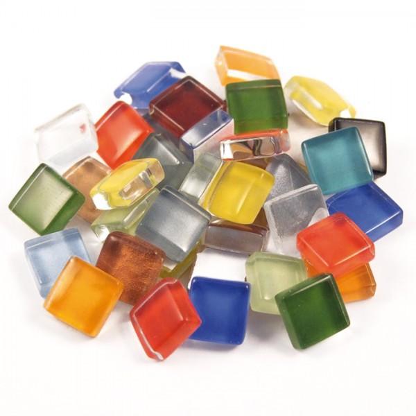 Mosaik Soft-Glas 10x10x4mm 200g bunt mix ca. 210 Steine