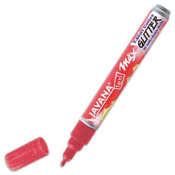 JAVANA Texi-Mäx Stoffmalstift Glitter rot Strichbreite 2-4mm