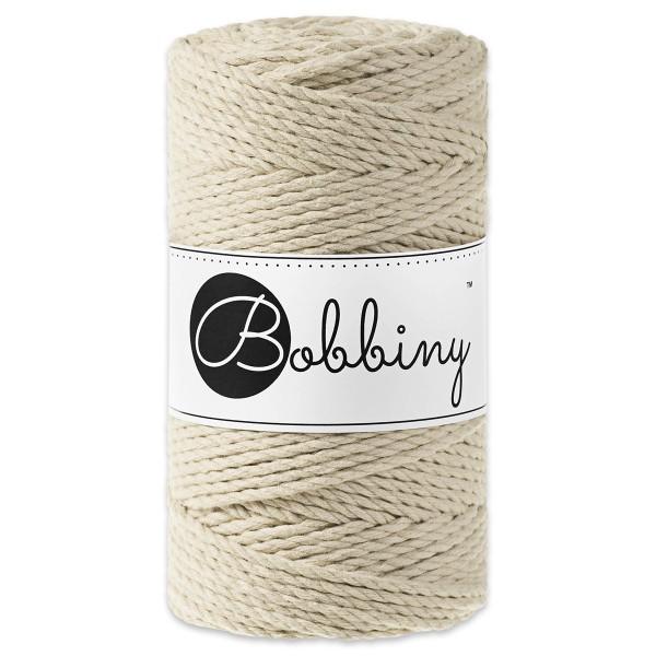 Bobbiny 3PLY Makramee-Kordel Ø3mm beige ca. 300g-400g, 100% Baumwolle, LL 100m, 3x20 Fasern