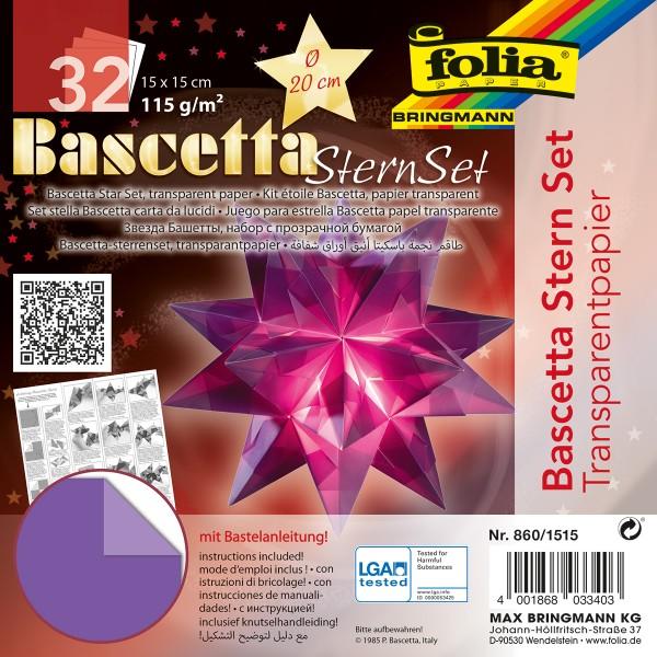 Bascetta-Stern ca. Ø 20cm 32 Bl. violett 15x15cm, Transparentpapier, 115g/m²