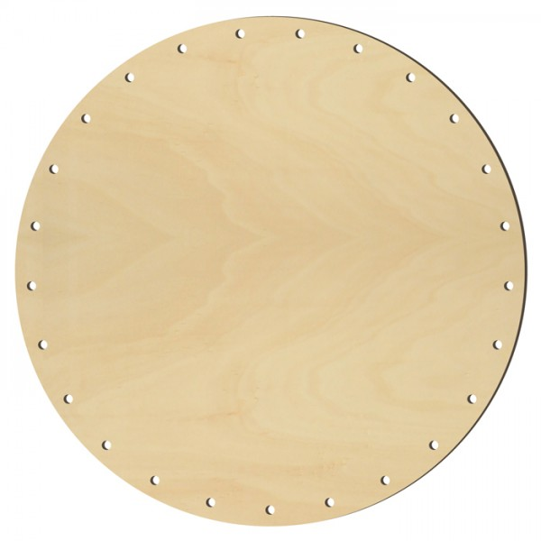 Korbflechtboden Holz 4mm Ø12cm rund natur 21 Bohrungen 2,6mm