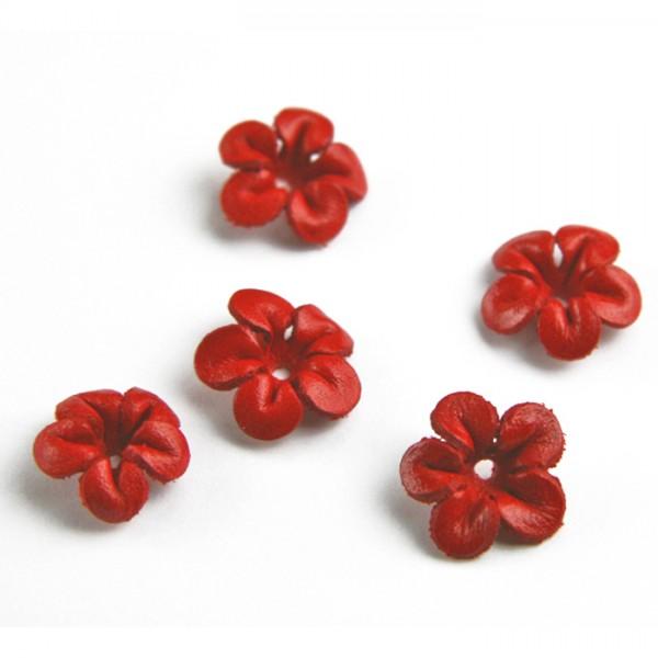 Lederblüten ca. 13mm 5 St. rot