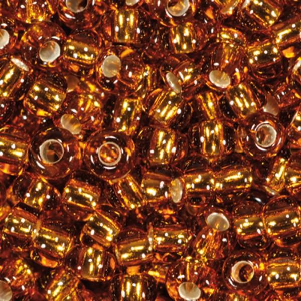 Rocailles transparent 2,6mm 17g dunkeltopas Silbereinzug, Glas, Lochgr. ca. 0,9mm