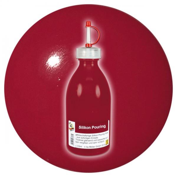 Just4Art Silikon Pouring Farbe 250ml dunkelrot mit Spritzdüse