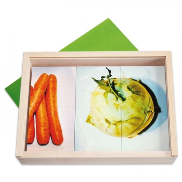 Spiel - GemüseVierer 36 Holzkärtchen 7x7x0,6cm 9 Motive