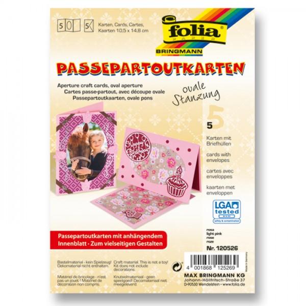 Passepartoutkarten DIN A6 5 St. oval rosa inkl. Kuvert&Einlegeblatt, 220g/m²