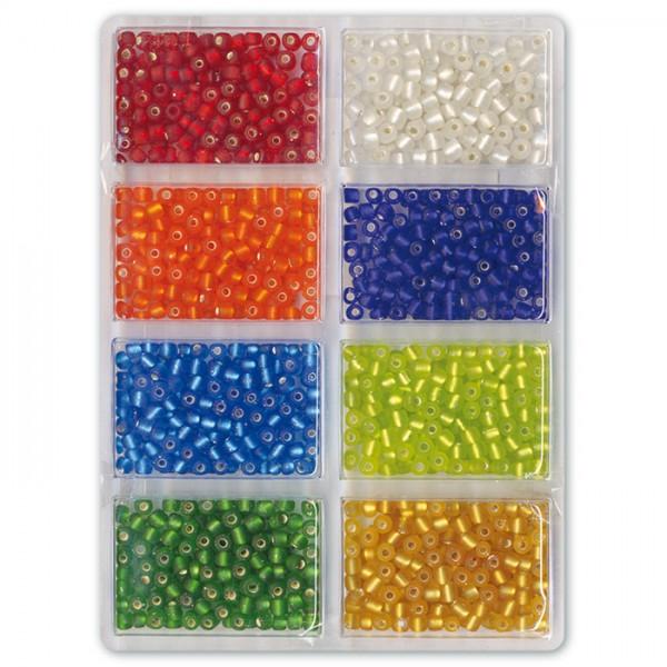 Jumboperlen gefrost. Silbereinzug 4mm 60g 8 Farben Glas, Lochgr. ca. 1mm