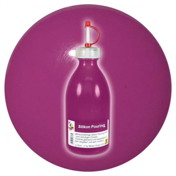 Just4Art Silikon Pouring Farbe 250ml magenta dunkel mit Spritzdüse
