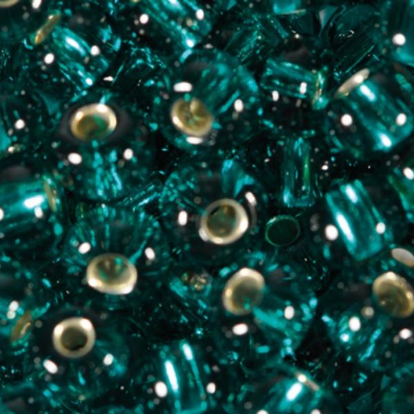 Rocailles transparent 4,5mm 500g dunkelgrün Silbereinzug, Glas, Loch ca. 1mm