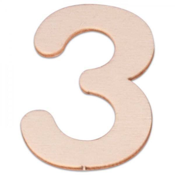 Holzzahl 3 ca. 3mm 6cm hoch natur