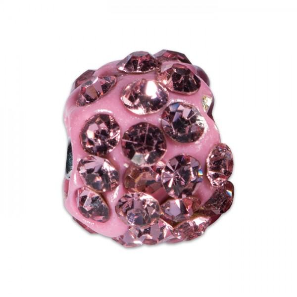 Strass-Kugel/Strassperle 10mm rose Kunststoff/Glas, Lochgröße ca. 1,3mm